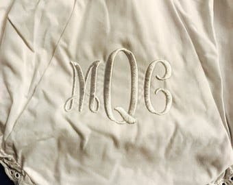 Monogrammed Baby Bloomers / Personalized Baby Bloomers - Christening / Baptism Bloomers