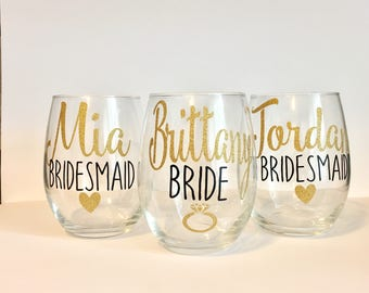 Bridal Party Wine Glasses | Personalized Bridesmaid Wine Glasses | Custom Wine Glass | Bridal Party Gifts | Bridesmaid Gift