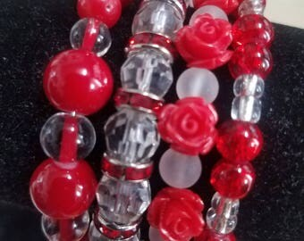 Red rose wrap bracelet