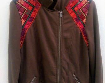 Womens Vintage Print Jacket - Brown Medium