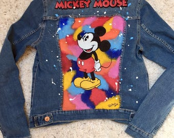Mickey Mouse Denim Jacket -Hand painted