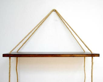 Twine Rope Reclaimed Wood Swing Shelf - Floating Style Wall Decor - Natural Wood Finished -- Minimalist Fits any Room in Home or Office