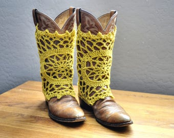 Boot Covers Done in Yellow Cotton