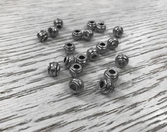 40 Silver tone beads, antique silver, bohemian, hole beads