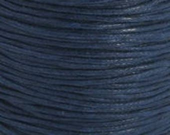 Navy blue waxed cotton cord 1mm x 20FT - Beading cord - Dark blue cotton string - Waxed cord - Jewelry findings
