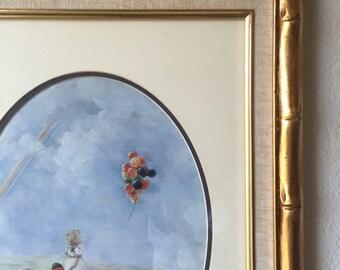 Vintage Kid Room Art- Balloons & A Rainbow- Gold Bamboo Frame- Vintage Kids Art- 1960's Kids Art- Balloon Floating- Little Girl Room Art