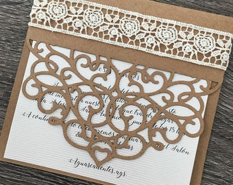 Invitation cut laser with lace!