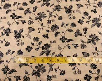 Floral fabric by yard, black flowers on beige cotton, Kathy Hall & Jo Morton flower quilting cotton, quilting fabric, andover sewing fabric