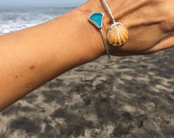 Sunriseshell + seaglass bangle
