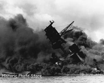 USS Arizona in Pearl Harbor Dec 7 1941