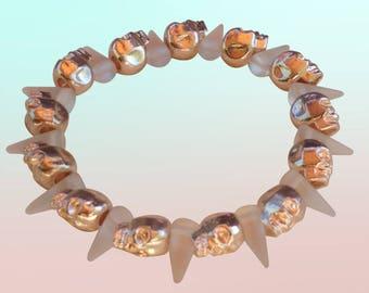 Gold Skulls & Clear Matte Spikes Stretch Bracelet