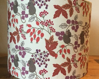 Harvest Mouse lampshade - ceiling drum shade in Lewis and Irene fabric
