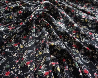 Cassia Soft Viscose Black Fabric