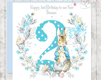 Peter Rabbit Personalised floral Birthday card