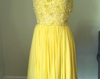 Harvey Berin Designed by Karen Stark Yellow Chiffon Dress