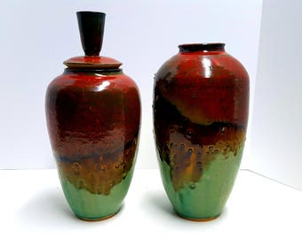 pottery vase and jar set