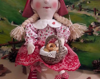 Hand made doll made of cotton red Kaepchen with a handmade basket