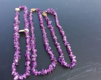 Vintage Tumbled Amethyst Necklace