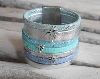 Leather Cuff Bracelet silver, green, turquoise and light blue with passers-by Palm (BR56)