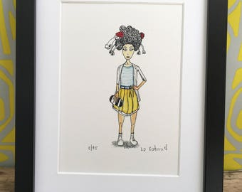 Afro-sheep print limited edition. Stylish hairstyle. Fashion wall art