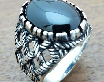 Handmade Silver Mens Ring With Natural  Onyx Stone