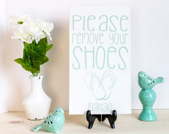 No Shoes Sign - Front Door - Remove Shoes - Wood Sign - White and Sea Glass