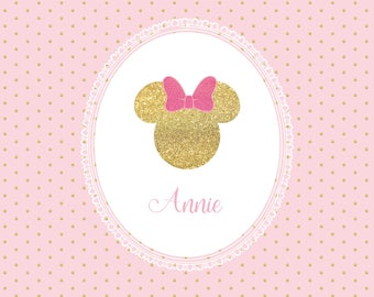PRINTED Custom Minnie Princess Birthday Party Backdrop - Minnie Mouse Birthday Party Background - Minnie Baby Gold Party Decoration