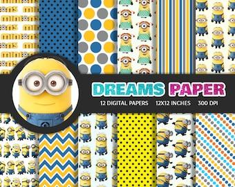 Minions - Digital Paper + Free Clipart