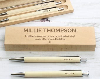 Personalised Laser Engraved Custom Classic Wooden Pen & Pencil Box Set - Personalized Ballpoint Pen HB Pencil Case