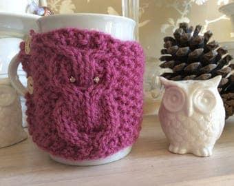 Pink mug cosy with diamanté eyes, coffee cup cozy, tea mug cosie