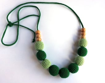 Mammy and baby teething crochet necklace, Teething necklace, Sling accessory, Necklace, Baby toy,Gift,Natural toy,Green beads,Green necklace