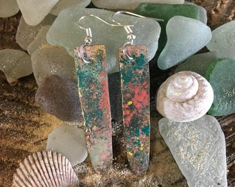 Rainbow Tide colourful drop dangle earrings - copper enamel silver plated made in Cornwall