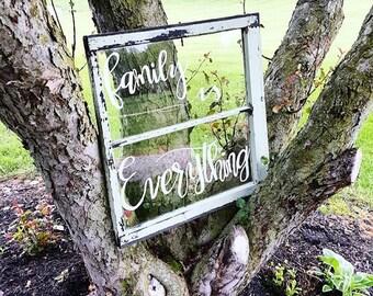 Rustic Window Frame Quote Art, Window Quote, Calligraphy Windows, Original Windows, Custom Quotes, Window Pane Art, Wedding Gifts, Windows