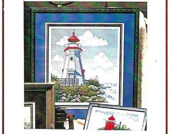 STONEY CREEK - Cheboygan Crib Lighthouse Counted Cross Stitch Kit - Vintage OOP Kit, 1996 - Unused Kit