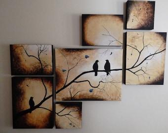 Multi canvas art, bird silhouette painting, fine art canvas, original art