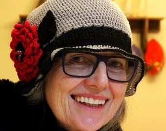 Crochet hats, handmade crochet red flower flapper hat, cotton womens hat