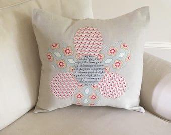 18x18 Flower appliqué pillow