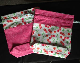 Drawstring Project Bag- Cherries