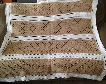 Crocheted Sandy Beaches Diamond Stitch Blanket
