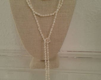 Ivory freshwater pearl lariat style necklace