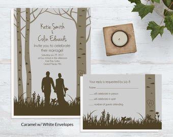 Forest Wedding Invitations ~ Woodland Wedding Invites ~ Woods Wedding Invitation Sets ~ Outdoor Wedding Invite Sets ~ Nature Wedding Invites