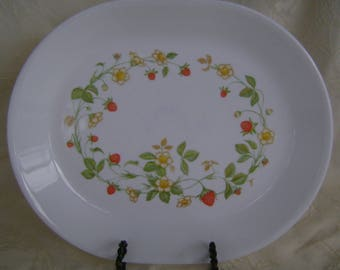 12 x 10 Platter, Corelle by Corning Strawberry Sunday Pattern Dicontinued 1983