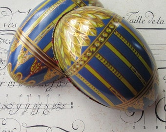 England Vintage Tin Metal Easter Egg Container Classical Faberge Design