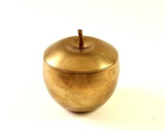 vintage brass apple dish with lid . minimalist covered dish jar