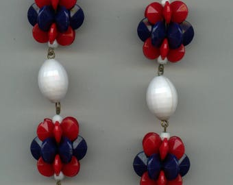 1950's  Bead Necklace Signed West Germany-Patriotic Colors