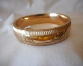 Bangle Bracelet Bates & Bacon Gold Plate Vintage Antique Etched Signed
