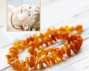 Raw Amber Teething Necklace | Natural Amber Necklace | Genuine Amber Teething | Organic Amber Baby Teething | Organic Baby