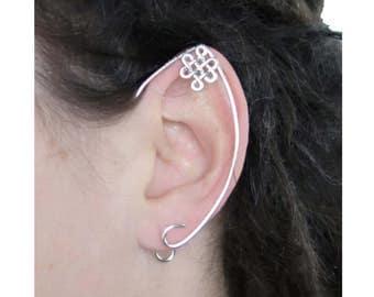 Silver celtic knot elfish ears, no pierced ears needed
