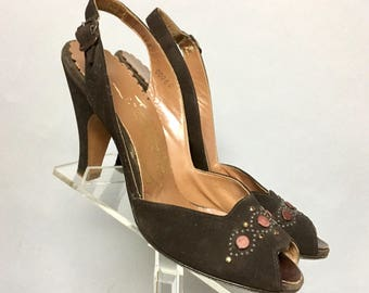 Brown OPEN Toe, Vintage 1940's Suede SLINGBACKS, ROCKABILLY High Heel Shoes w Studs, size 6