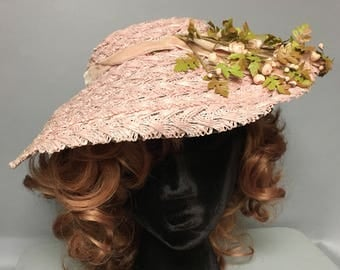 "Vintage 50s ""Original by Lady Diane"" LACY Pink Straw WIDE BRIM Hat, w/ Flowers and Leaves"